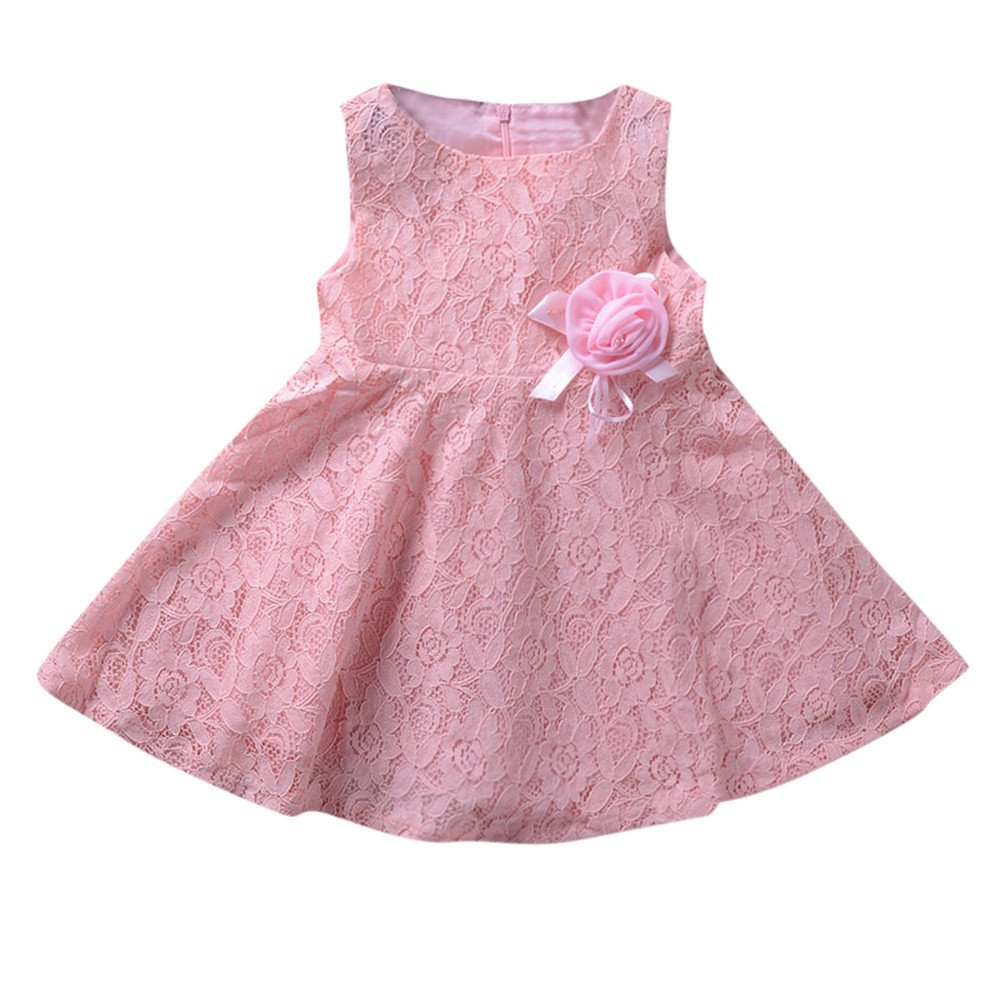 PLOT Clearance Baby Girls Dresses Sleeveless Lace Dress Kids Sundress Clothes Outfit Set 1-6T