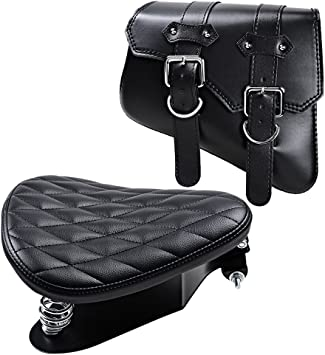 Mounting Straps For Harley Sportster XL883 XL1200 1X Black Leather LEFT Solo Saddle Luggage Bag