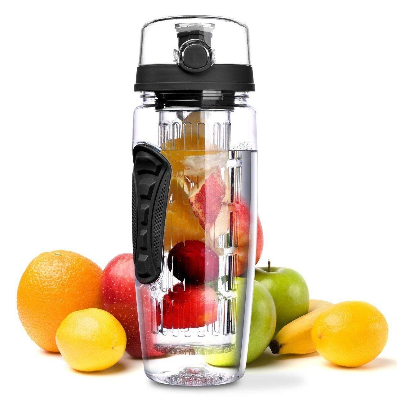 Bottiglia di infusore di frutta Bottiglia di acqua di sport Asta di infusione e manica isolante per l'escursionismo Campeggio Arrampicata Scuola di viaggi Regalo Ufficio e casa, nero-black Prezzi