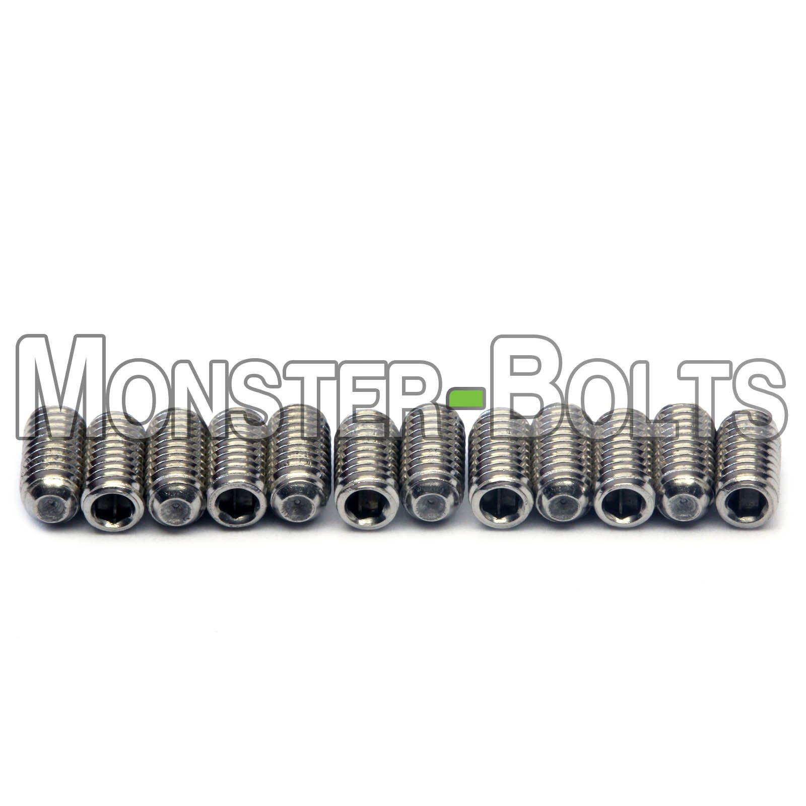 Guitar Saddle Bridge Height Adjustment Hex Screws set (12) for US / Inch and Metric - MonsterBolts (Metric - M3 x 6mm, Stainless Steel)