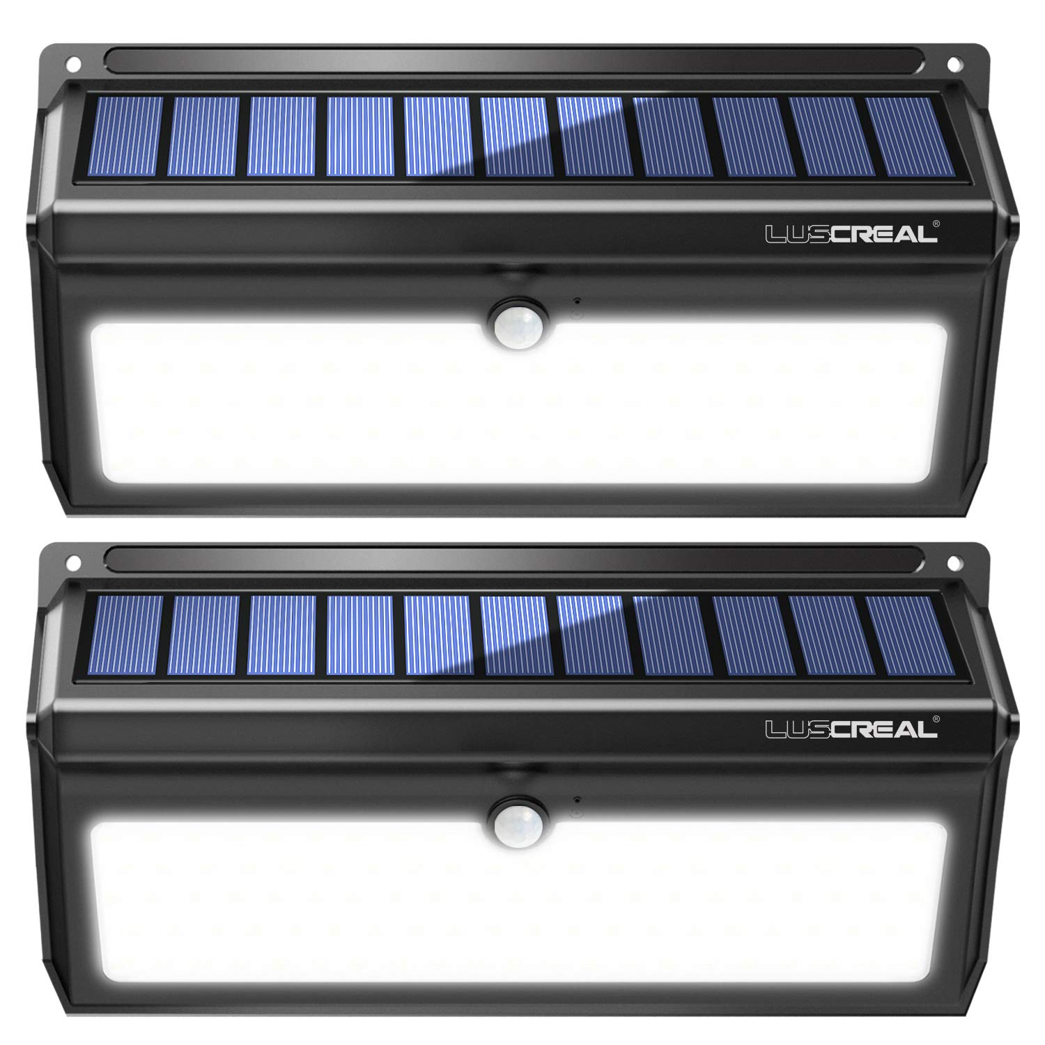 Solar lights Outdoor, Luscreal Super Bright 100 LED Solar Motion Sensor Security Wall Lights for Front Door Back Yard Garage Deck Porch Step Stair Garden Fence Driveaway Patio (2000LM, 2PACK) by LUSCREAL
