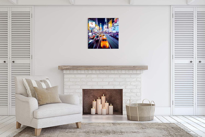 Revolio Impression Artistique D/écoration Murale Images sur Toile Ville New York Orange Taille: 40x30 cm Tableaux pour la Mur Design