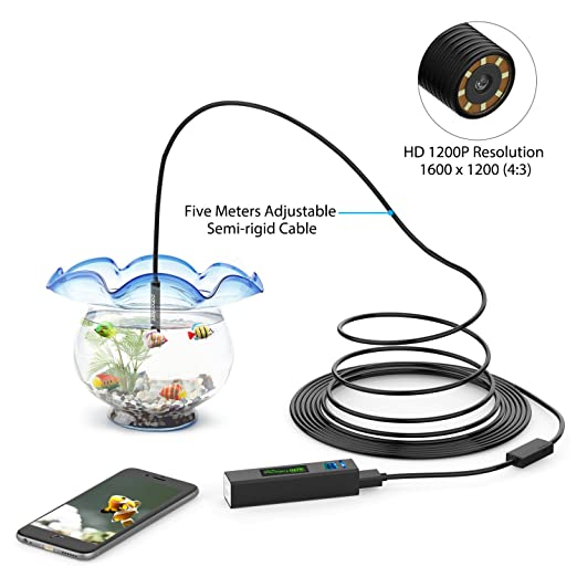 16.5FT, derni/ère Version Pancellent Endoscope WiFi Inspection Cam/éra HD 1200P IP68 Etanche avec 8 LED C/âble de Serpent Semi-Rigid Flexible pour iOS iPhone Android Tablette