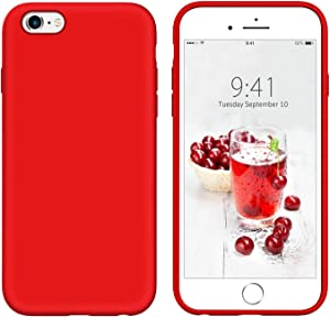 YINLAI iPhone 6S Case, iPhone 6 Case Slim Liquid Silicone Soft Rubber Cover Shockproof Protective Non Slip Grip Hybrid Hard Back Bumper Durable Girly Phone Cases for iPhone 6S/6, Red