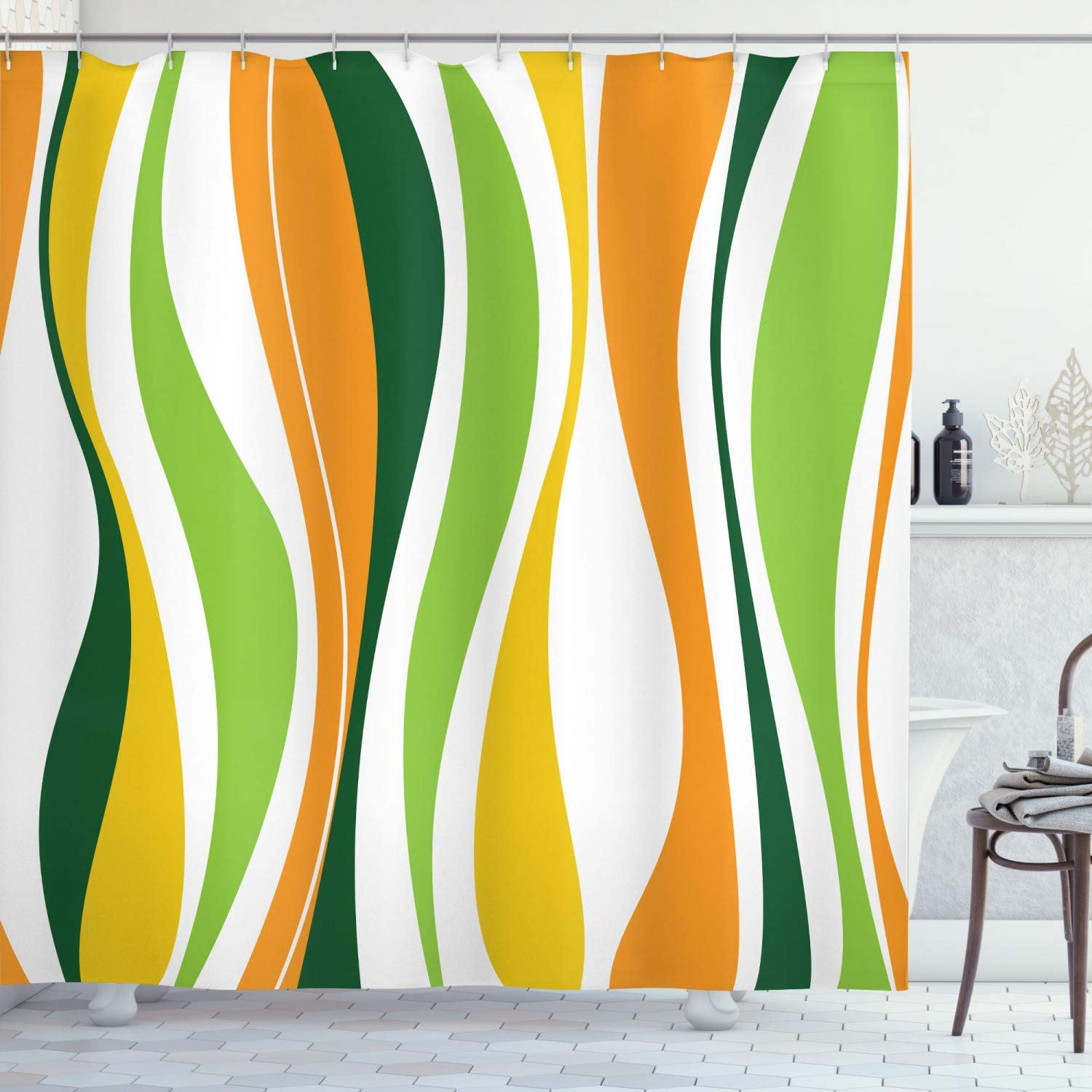 Ambesonne Vintage Shower Curtain, Retro Vibrant Stripes Funky Lines Design Patterns Abstract Print, Cloth Fabric Bathroom Decor Set with Hooks, 70