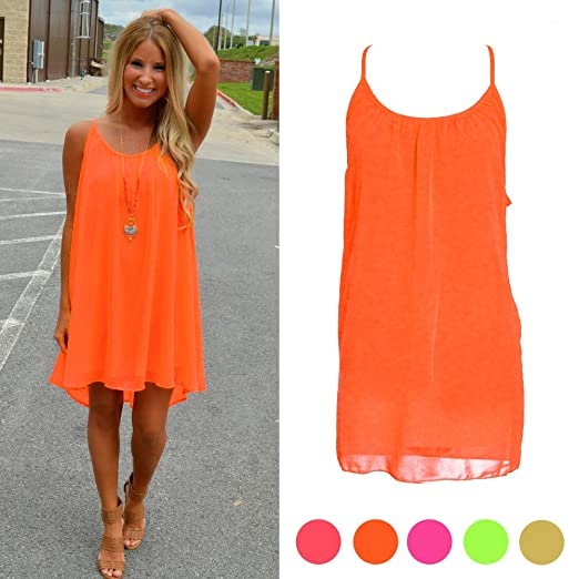fda91e3fd3 SCASTOE Womens Orange Summer Sundress Beach Chiffon Casual ...