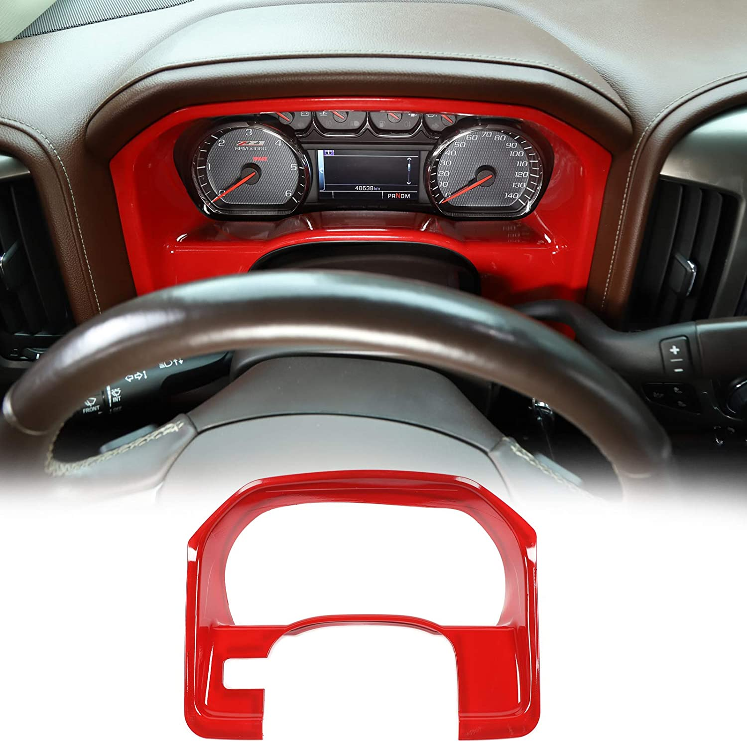 RT-TCZ Dash Board Instrument Trim Cover ABS Interior Dashboard Accessories Trim Cover for Chevy Silverado 2010-2017 for GMC Sierra 2010-2017 Red