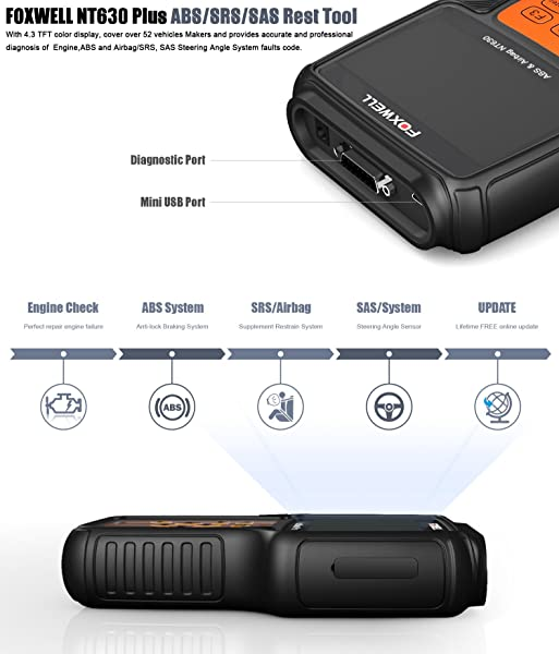 FOXWELL NT630 is an OBD II Scan Tool that offers various functions