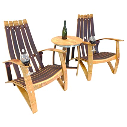 Central Coast Creations Adirondack Chair Set - Wine Barrel Handcrafted Wine  Barrel Furniture - Amazon.com : Central Coast Creations Adirondack Chair Set - Wine