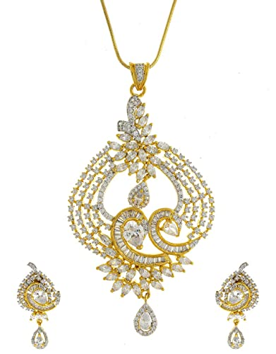 0c5c203fc Buy Anuradha Art Golden Colour Classy Designer Rich Look American Diamond  Pendant Set For Women Girls Online at Low Prices in India