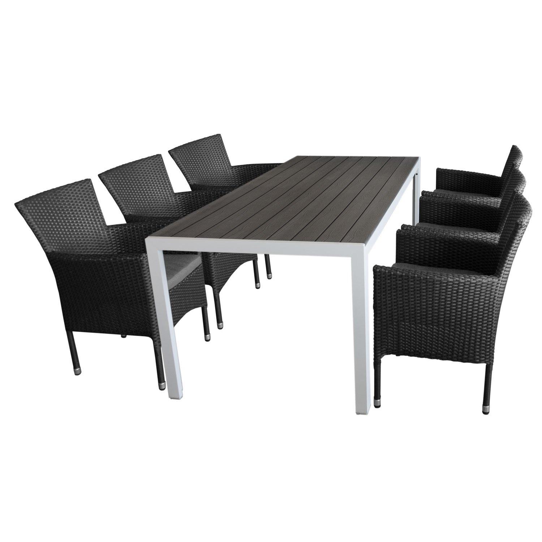 gartengarnitur gartentisch polywoodtischplatte grau aluminiumgestell wei 205x90cm 6x. Black Bedroom Furniture Sets. Home Design Ideas