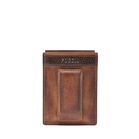 fossil mens quinn magnetic card holder brown one size - Magnetic Card Holder