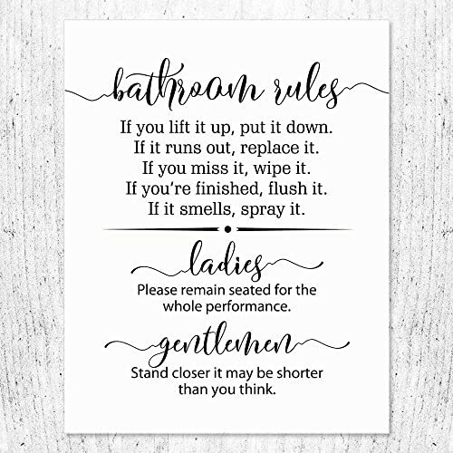 Amazon Com Bathroom Rules Toilet Rule Wall Decor Bathroom Wall Decor Funny Quote For Bathroom Toilet Art Print Toilet Wall Decor 11x14 Inch Unframed Handmade