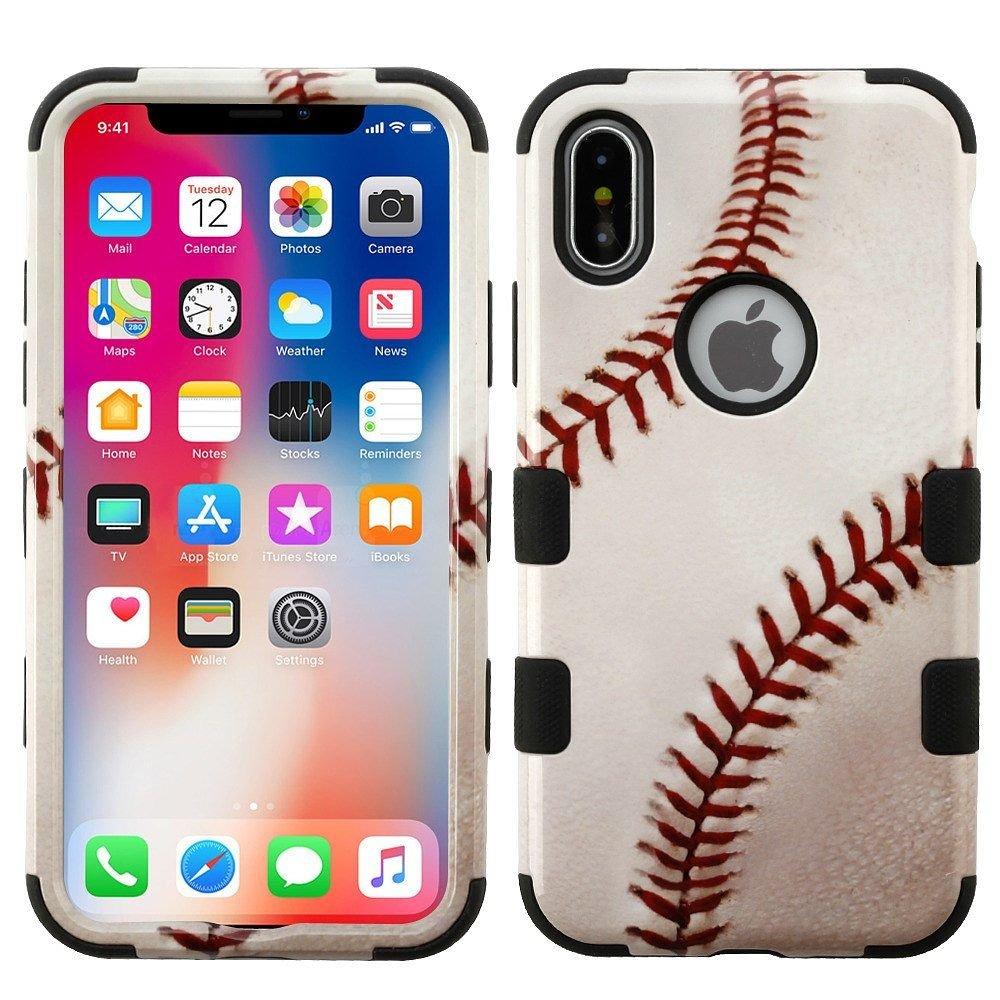 iPhone xケース、MYBAT野球デュアルレイヤ[衝撃吸収]保護ハイブリッドPC / TPUラバーケースカバーfor Apple iPhone X、ホワイト/ブラック B076Q2DKF9