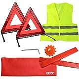DEDC Kit de Emergencia Coche 2 Triángulo Reflectante Plegable de Emergencia 1 Luz Advertencia de Emergencia y 1 Chaleco Reflectante Kit de Señalización de Emergencia