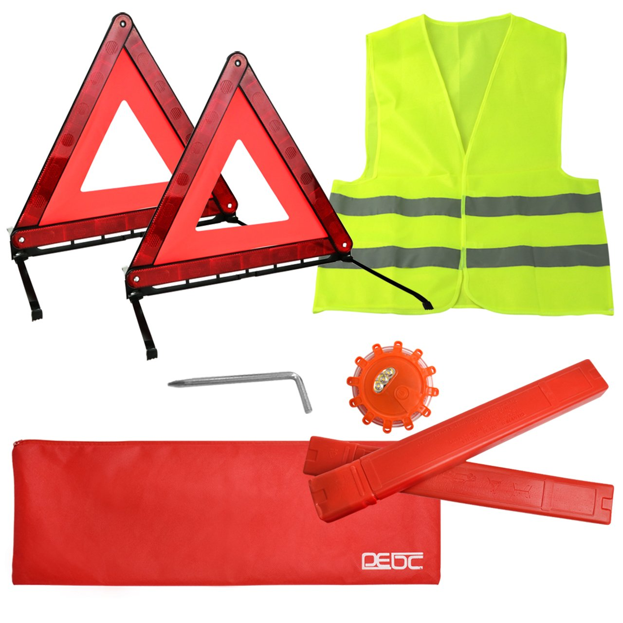 DEDC 4 Packs Roadside Assistance Kit Set with Storage Bag - 2 x Foldable Emergency Triangles + Dual-Color Emergency Light + Reflective Safety Vest Safety Gear & Hazard Warning Triangle