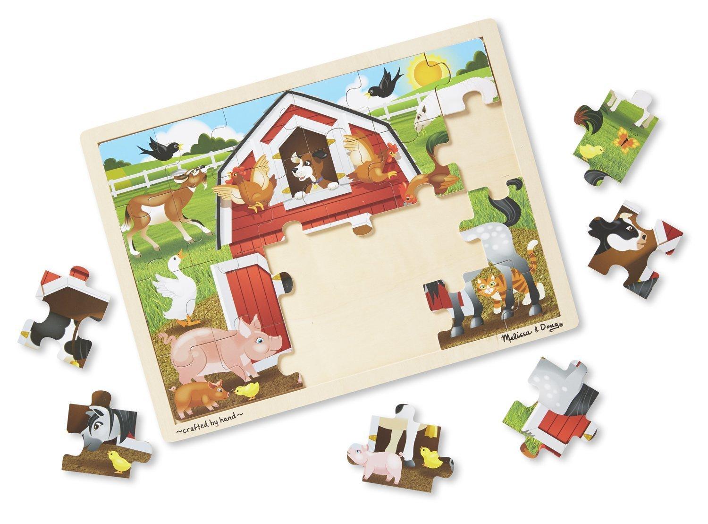 Barnyard 24-Piece Jigsaw Puzzle FREE Melissa /& Doug Scratch Art Mini-Pad Bundle 90612