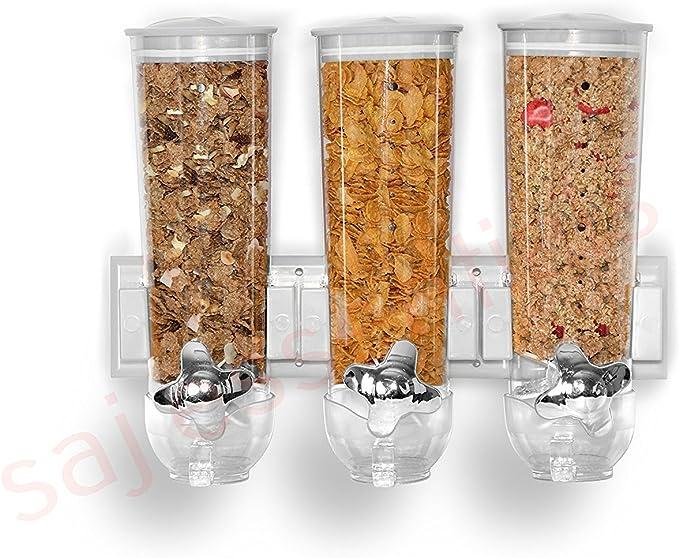 N//Y Dispenser per Cereali Dispenser per Cereali Dispenser per Alimenti secchi a Parete Secchio per Riso Multi Scomparti Contenitore per dosaggio Automatico Piano di Lavoro