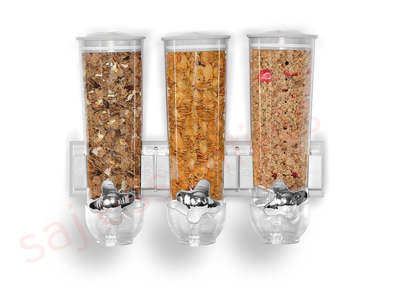 Dispenser a parete triplo per cereali e alimenti secchi Silver ballino
