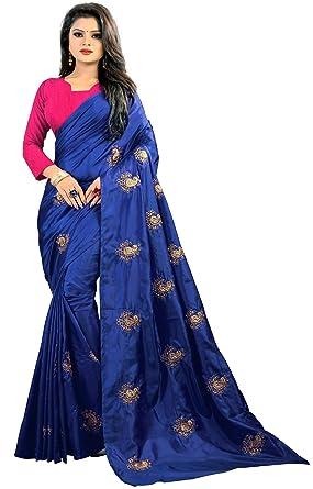 a26bb3aa5fe597 Kesari King Women s Embroidery Paper Silk Saree With Blouse Piece (YBlueMatur)