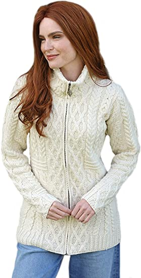 SAOL Traditional Irish 100/% Merino Wool Ladies Double Collar Zipped Sweater Cardigan with Patch Pockets