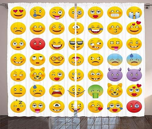 Ambesonne Emoticon Curtain