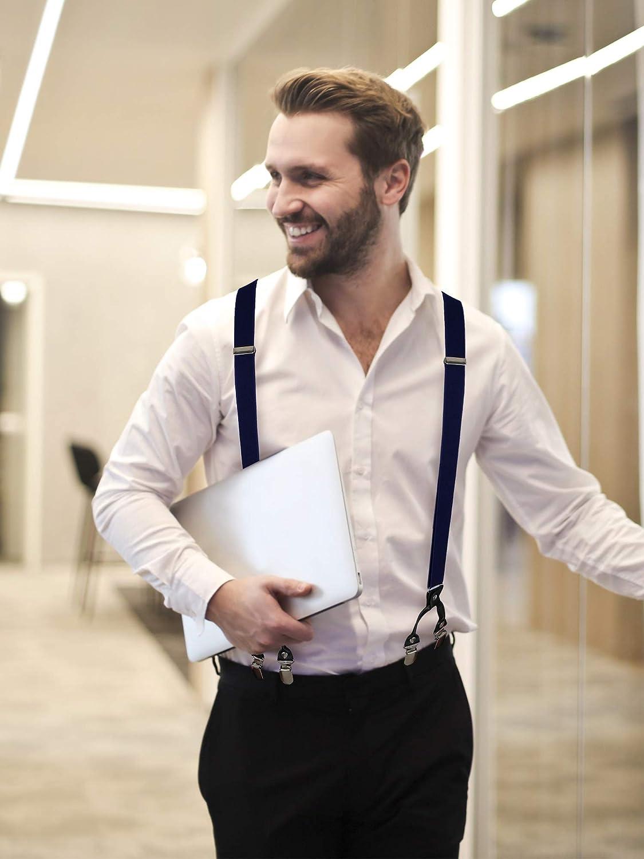 Geyoga Adults Suspenders Men Suspenders Set Y Back Suspender Metal Clips Adjustable Braces Suspenders Bowtie Necktie Set