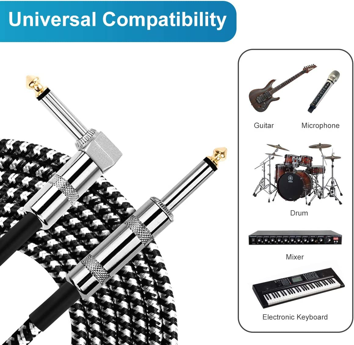 XCOZU 6.35mm 1//4 Male to Male Guitar Instrument Cable Jack Lead with Nylon Braid Guitar Lead Cable 3m Straight /& L Shape Plug Mono Audio Cable for Electric Bass Guitar Amplifier Keyboard