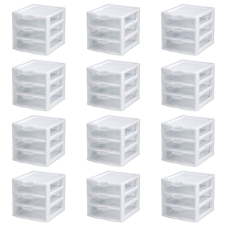New Sterilite Small Compact Countertop 3 Drawer Desktop Storage Unit (12 Pack)