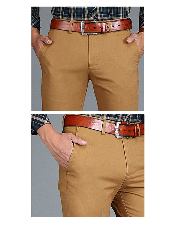 Legou Mens Flat Front Slim 100/% Cotton Dress Pants