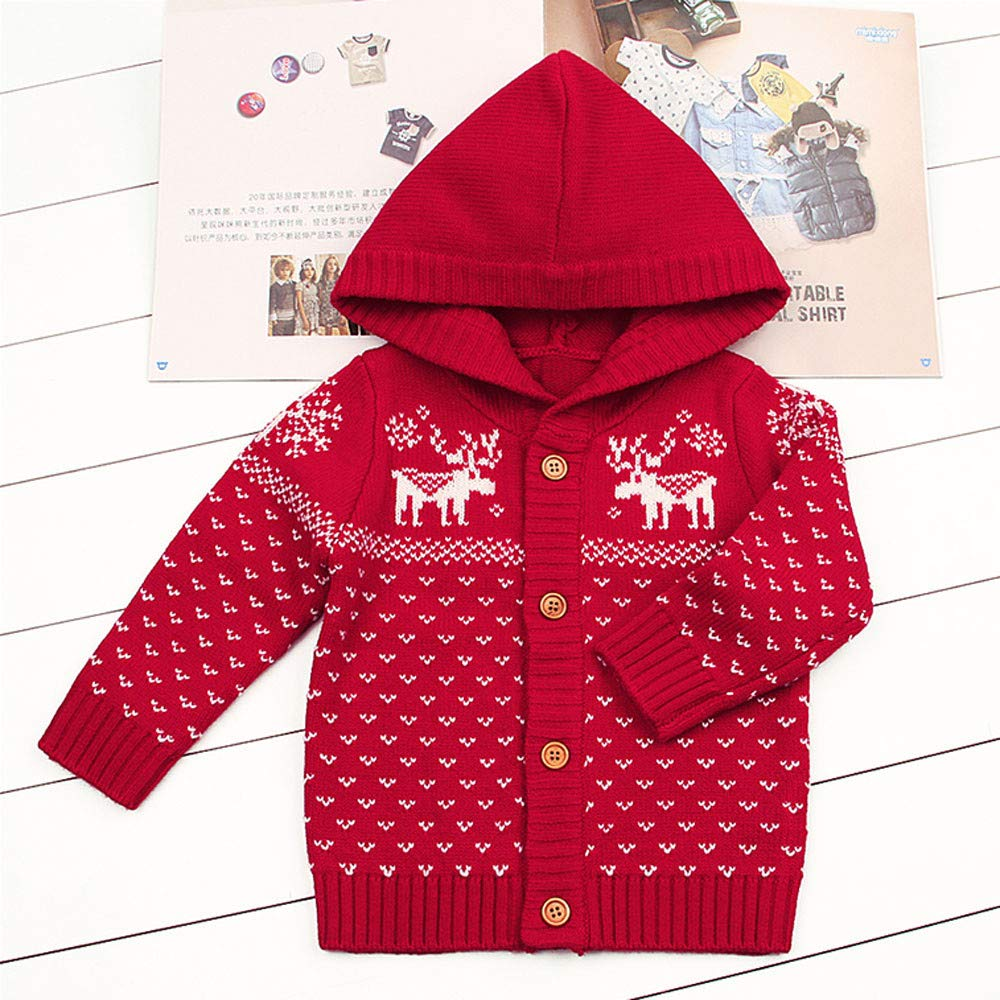 XUANOU Toddler Baby Boys Girls Christmas Deer Hooded Knitted Tops Warm Coat Clot