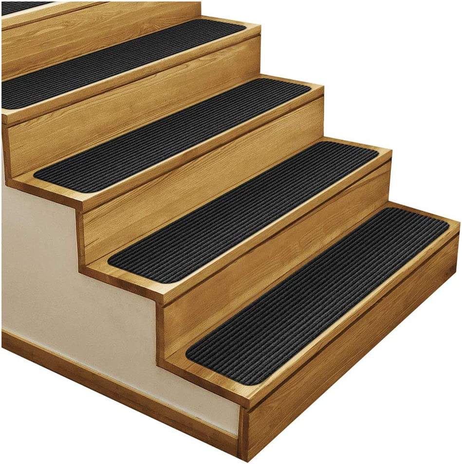 House, Home and More Set of 15 Skid-Resistant Double-Ribbed Carpet Stair Treads – Smokey Black – 9 Inches X 36 Inches