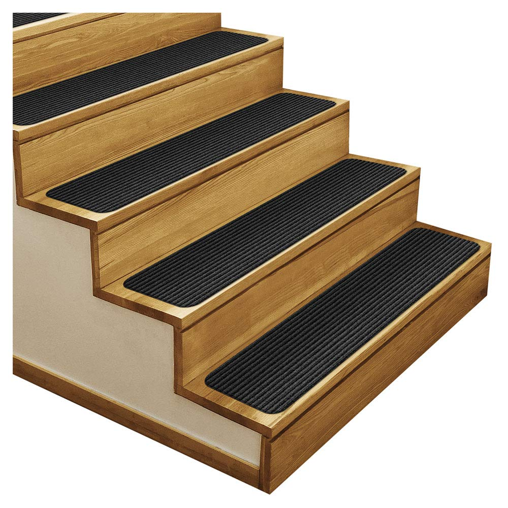 Smokey Black X 23.5 in Set of 15 Skid-Resistant Double-Ribbed Carpet Stair Treads Several Other Sizes to Choose from 8 in