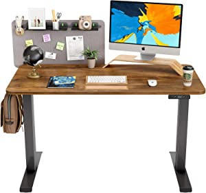 FAMISKY Dual Motor Adjustable Height Electric Standing Desk, Storage Panel with Tray, 48 x 24 Inches Stand Up Table, Sit Stand Home Office Desk with Splice Tabletop, Black Frame/Walnut Top