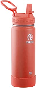 Takeya Actives Insulated Water Bottle w/Straw Lid, Coral, 18 Ounces