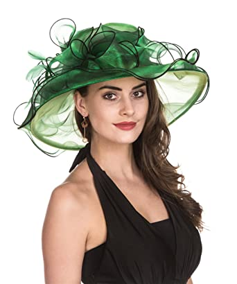 554228b6a6ed9 SAFERIN Women's Organza Church Kentucky Derby Hat Feather Veil Fascinator  Bridal Tea Party Wedding Hat (