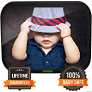 Sunferno Baby Car Mirror - Have Peace of Mind While Driving by Effortlessly Monitoring Your Baby - Wide View Extremely Durable and Adjustable Infant Backseat Mirror for Universal Fit