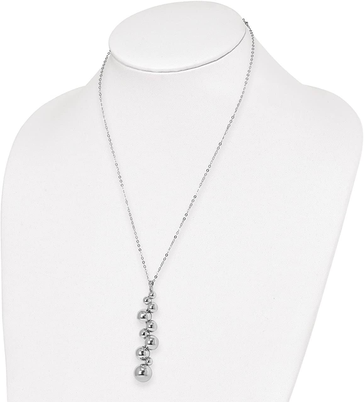 Lex /& Lu Leslies Sterling Silver Polished Beaded Dangle Necklace