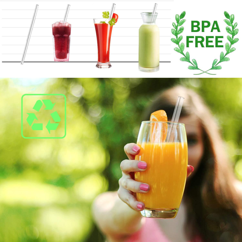 Wiederverwendbar Glas Strohhalme ORYCOOL Glas Strohhalm Premium Eco Nachhaltige Trinkhalme Glasstrohhalme f/ür Smoothies 8er Set Mit 2 Reinigungsb/ürsten Saft Long-Drinks