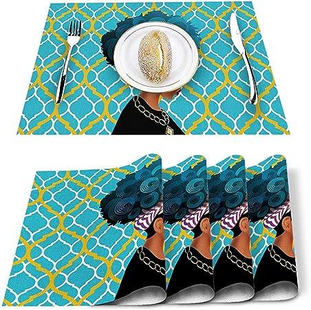 GuyIvan Juego de manteles Individuales de 6, tapetes de Mesa Resistentes a Las Manchas para Mujeres afroamericanas Negras Mantel Individual Aua Blue Chic Morrocan Pattern: Amazon.es: Hogar