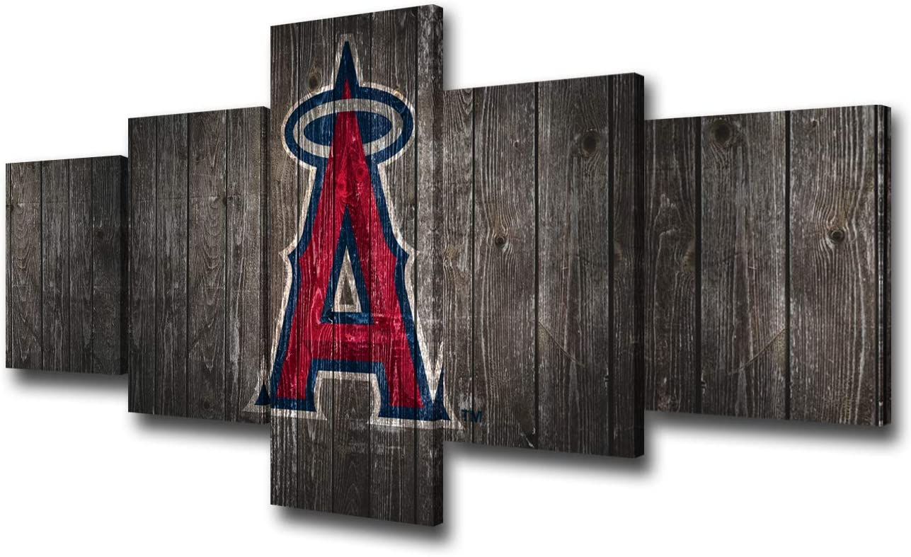 Amazon Com Wall Decorations For Living Room Los Angeles Angels Of Anaheim Team Logo Canvas Wall Art Professional Baseball Poster Modern Home Decoration Artwork 5 Piece Framed Ready To Hang 50wx24h Inches Home