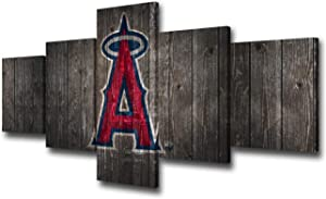 Wall Decorations for Living Room Los Angeles Angels of Anaheim Team Logo Canvas Wall Art Professional Baseball Poster Modern Home Decoration Artwork 5 Piece Framed Ready to Hang(50Wx24H inches)