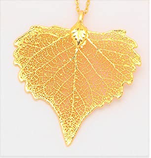 Amazon 24k gold dipped sugar maple leaf with gold plated chain 24k gold dipped cottonwood leaf with gold plated chain aloadofball Choice Image
