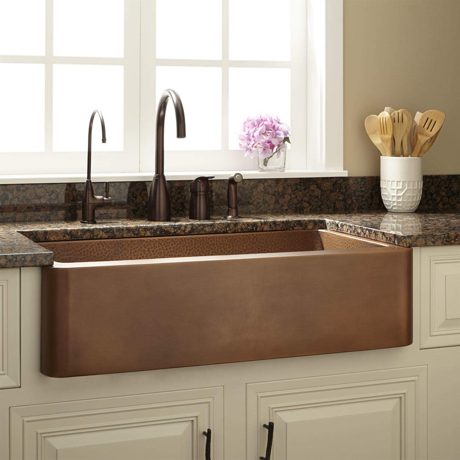 Signature Hardware 318879 Raina 36 Single Basin Copper Farmhouse Sink