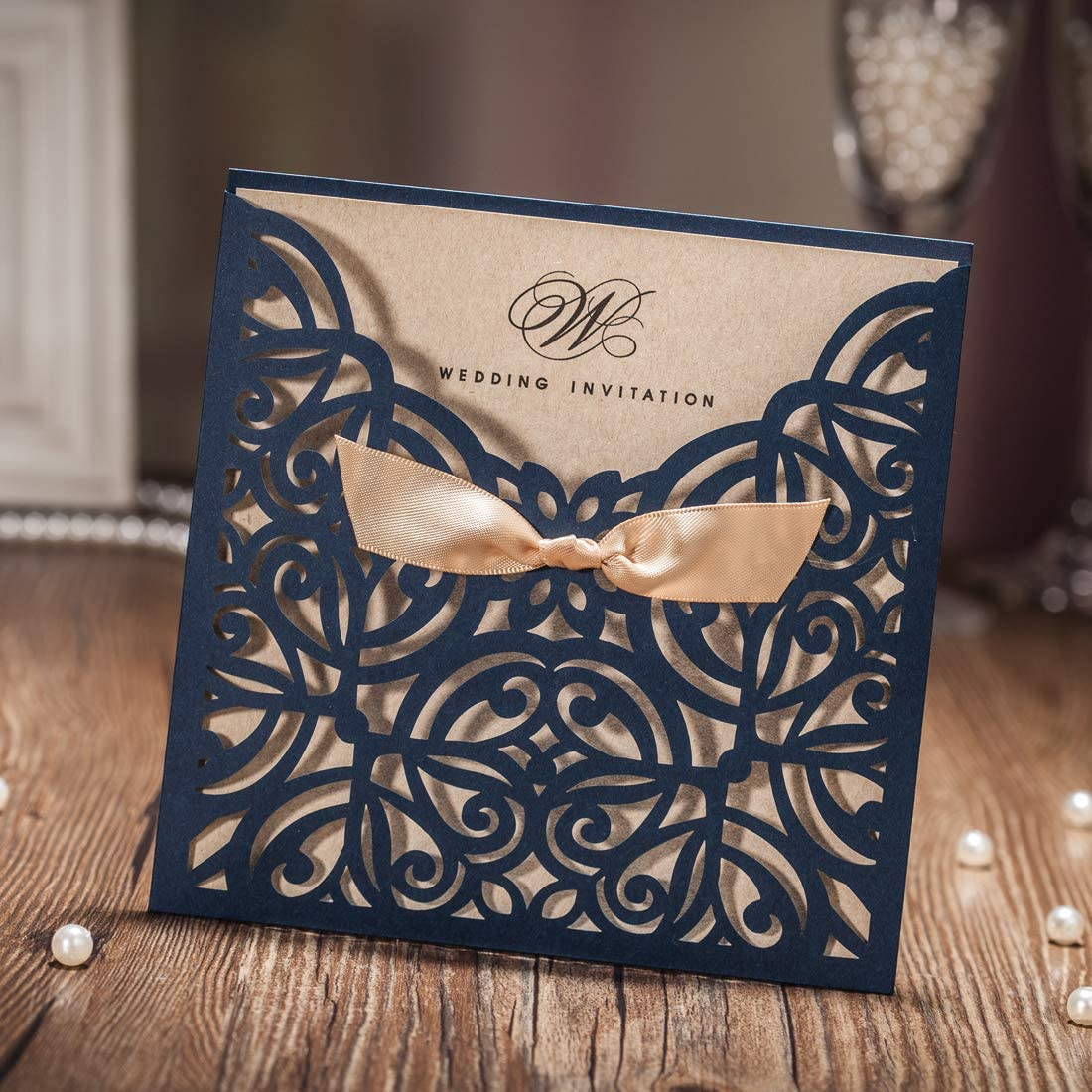 Amazon.com: WISHMADE 100 Navy Blue Square Printable Laser Cut Wedding  Invitations Cards Sets, Bowknot Cardstock Invites Paper Kits for Party  Birthday Bridal Shower Baby Shower CW6179B: Health & Personal Care
