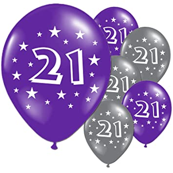 20 Purple And Silver 21st Birthday Party Balloons