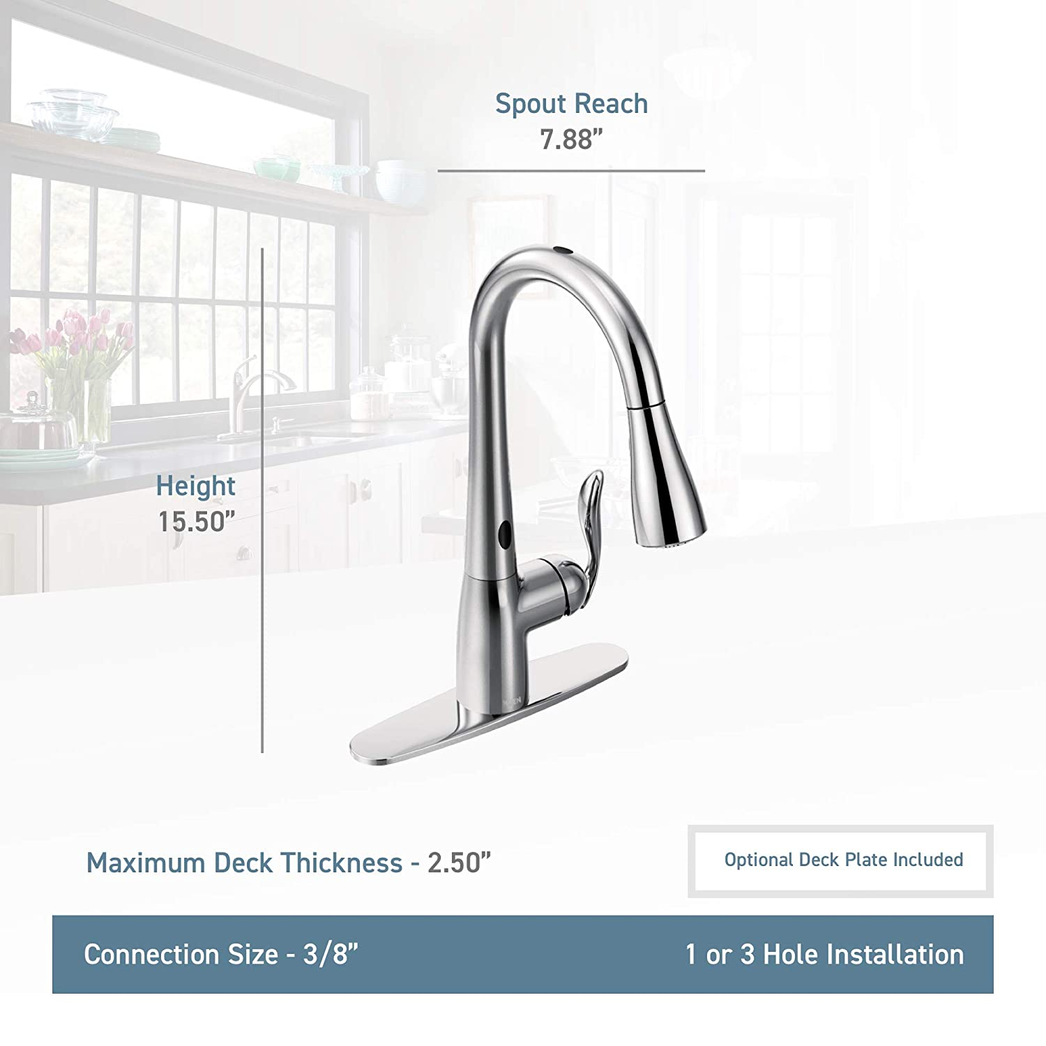Moen Arbor Motionsense Two-Sensor Touchless One-Handle High Arc ...