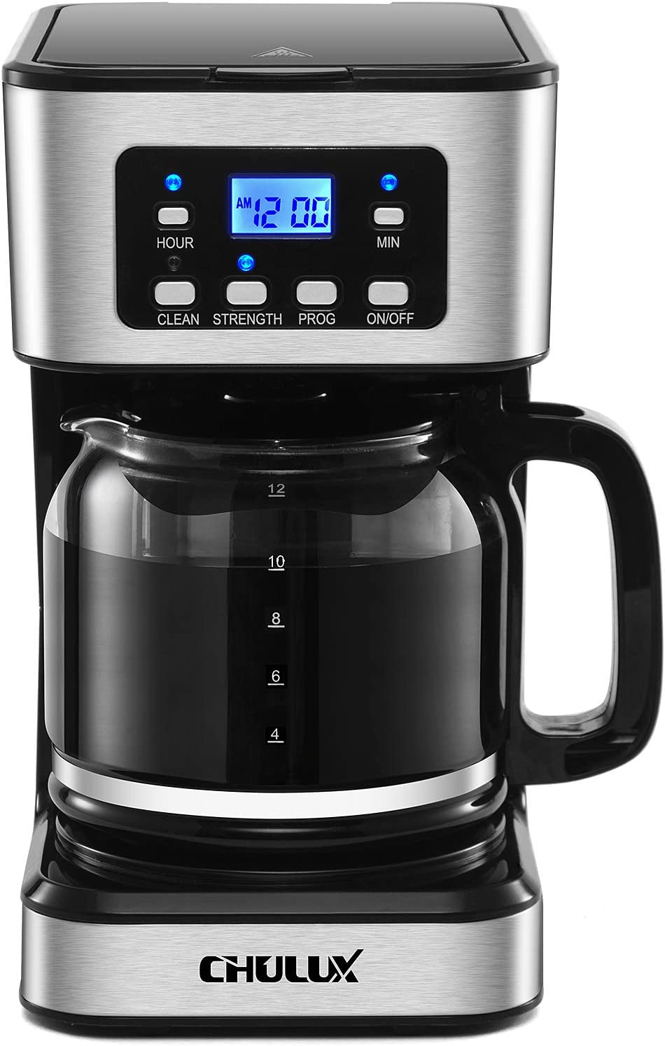 CHULUX 24-Hour Programmable Drip Coffee Machine with LCD Screen and 12 Cup(60 OZ )Glass Carafe,Brew Strength Control,2-Hour Keep Warm,Auto Brew and Shut Off,Washable Coffee Filter and Spoon,950 Watts