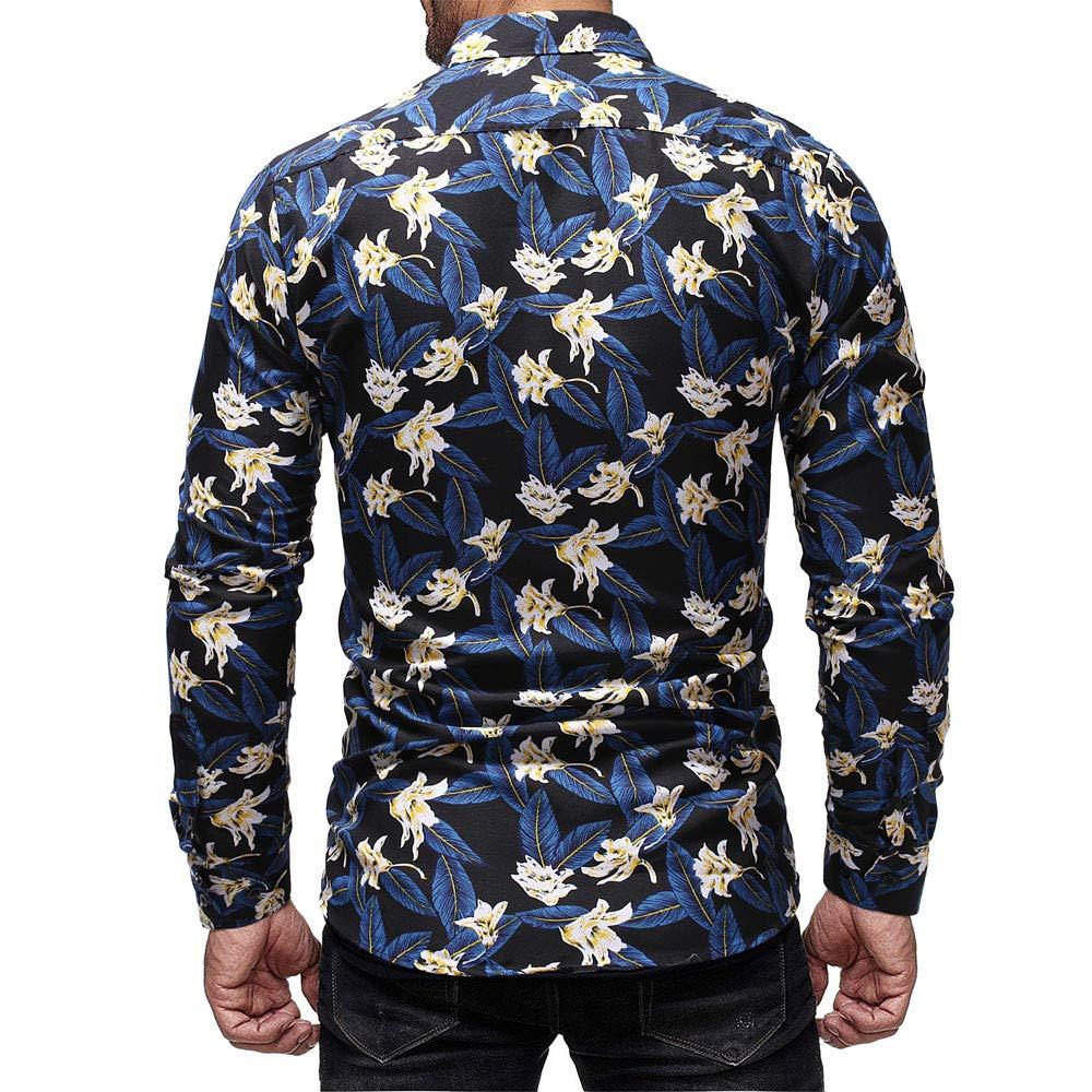 Balakie Mens Stylish Shirt Floral Leaf Print Lapel Button Down Blouse Tops