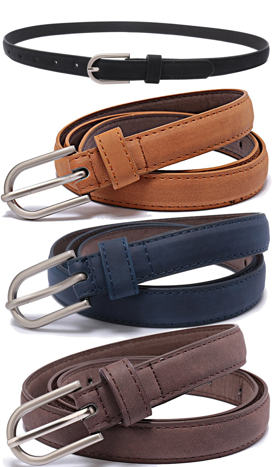 Set of 5 Women's Skinny Leather Belt Solid Color Waist or Hips Ornament 10 Sizes (30-32, Set of black blue brown coffee 3/4'' wide)